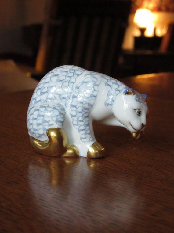 Chat de porcelaine Herend millésime 1988, Franklin Mint, Curio Cabinet chats Collection, cadeau pour Cat Lovers, chatons, Figurine à collectionner, Hongrie