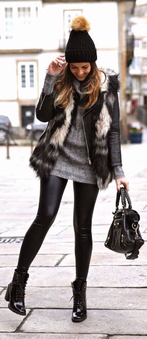 Faux fur vest + black leggings