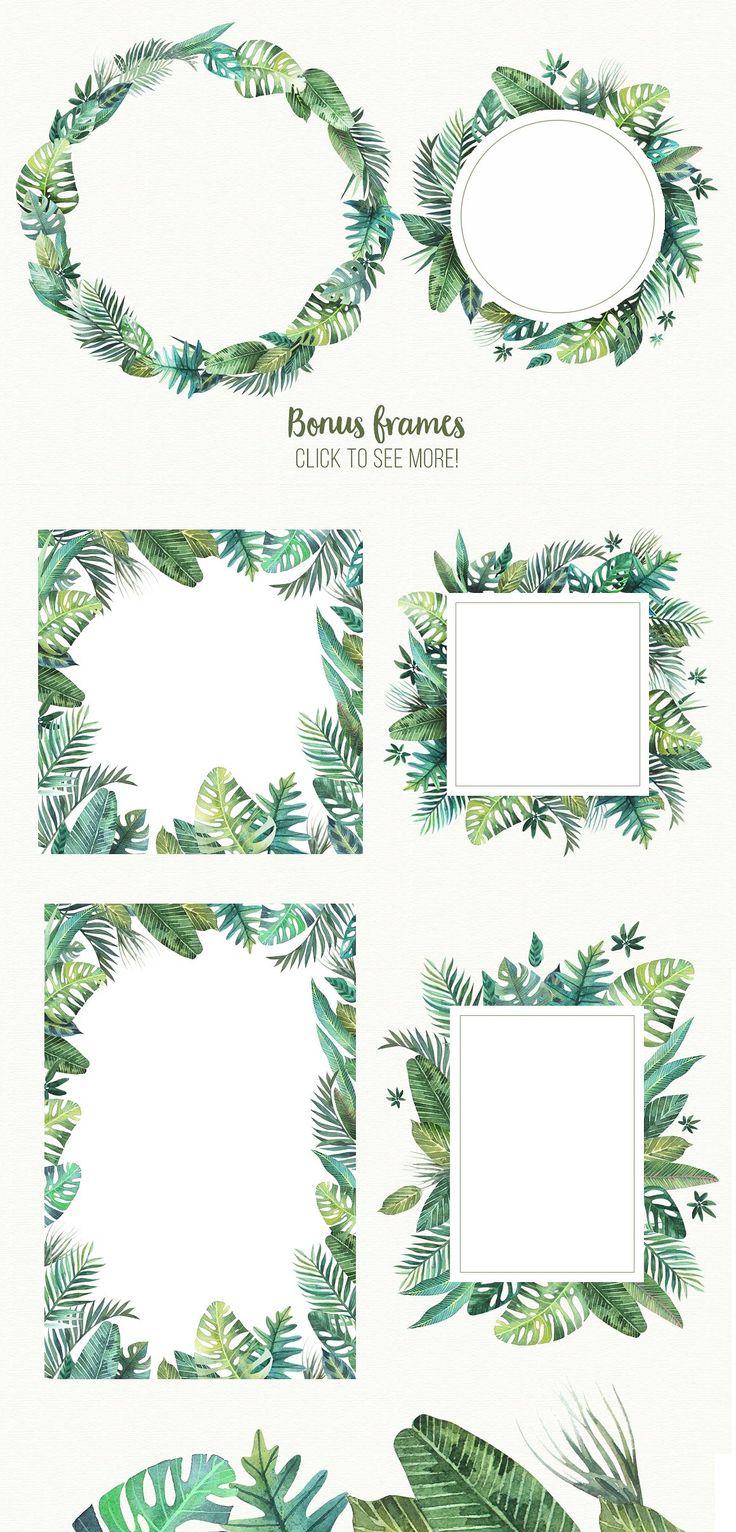 Tropical leaves by Sсherbinka on @creativemarket