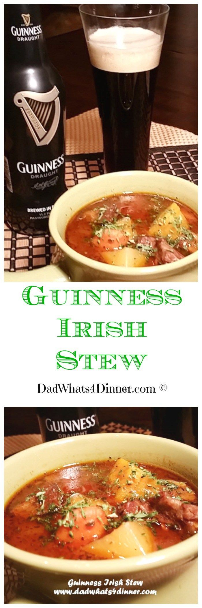 Get your green on with my Guinness Irish Stew! Can be made on the stove or in the slow cooker. Perfect for your St. Patrick's Day party.