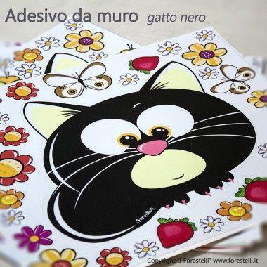 Sticker da parete con il gattino nero!