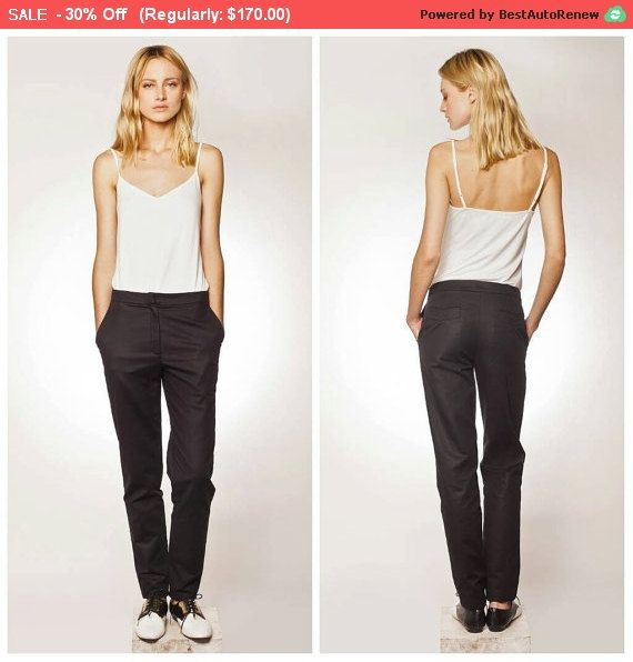 30% Sale, Black Trousers, Womens Trousers, Cotton Pants, Long Pants, Business Casual, High Fashion, Minimalist Fashion, Black Pants, Wome...