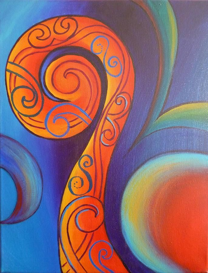 Tribal Koru Red Painting - Tribal Koru Red Fine Art Print