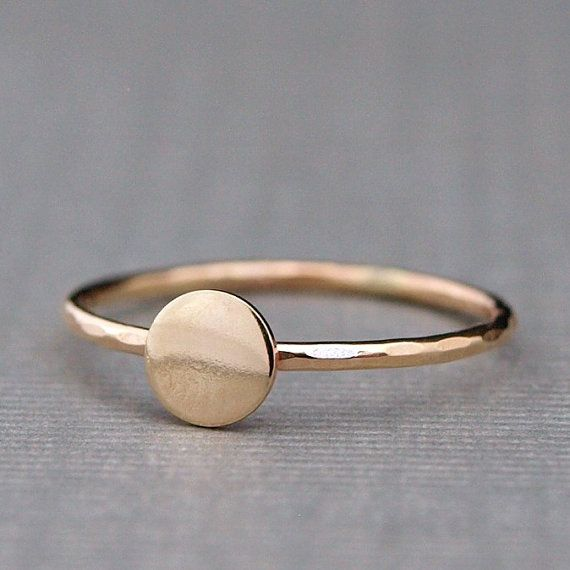 This tiny gold ring is simple & modern. It is created in the size of your choice from 14k goldfilled sheet and wire. The circle disc is a
