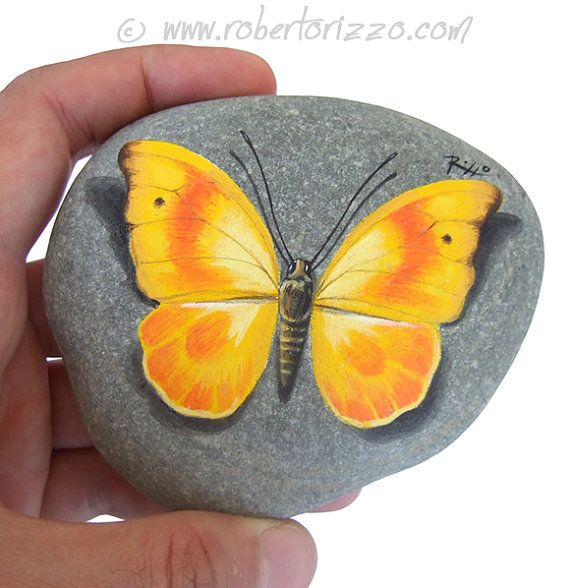 This Yellow Butterfly Looks Really Resting on a Rock! A Wonderful Piece of Art and a Great Gift Idea for all of you, Nature Lovers!  My painted stones are unique pieces of art. I paint all of them on smooth sea rocks with high quality acrylics and very small brushes.  They are FINELY DETAILED, protected with a strong transparent varnish coat, signed on the back and accompanied by a CERTIFICATE OF AUTENTICITY.  * Measurements of this hand painted butterfly: Height 10 cm (4 in) *  ** I work…