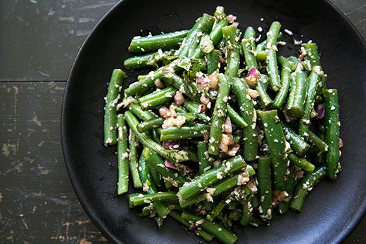 Green Bean Salad with Basil, Balsamic, and Parmesan ~ Fresh green beans, blanched and toss with a balsamic vinaigrette, red onions, basil, and Parmesan. ~ SimplyRecipes.com