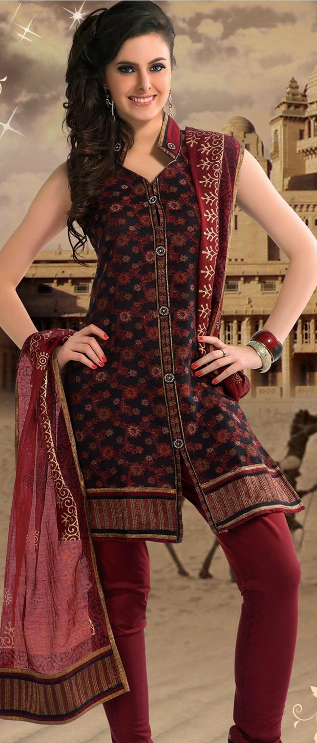 #Black and Dark #Red #Cotton Readymade Churidar Kameez @ $78.33