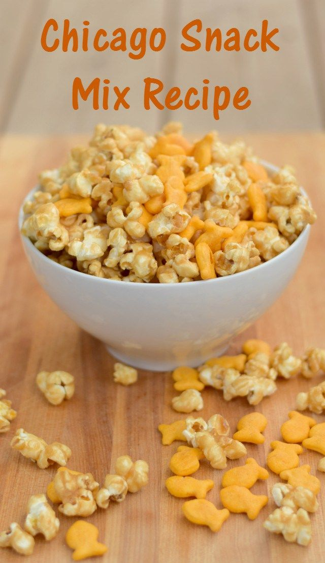 Super fun recipe for a homemade Chicago style popcorn mix for after school snacking. Delicious caramel corn mixed with Goldfish crackers for a perfect snack or movie treat. #MixMatchMunch ad