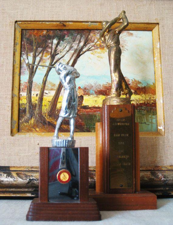 Vintage Golf Trophy Trophies Golfing Statue Female by wilshepherd