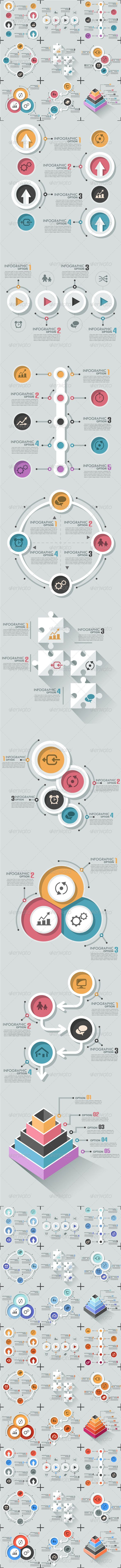 Set Of 9 Flat Infographic Options Templates #design Download: http://graphicriver.net/item/set-of-9-flat-infographic-options-templates/8063679?ref=ksioks