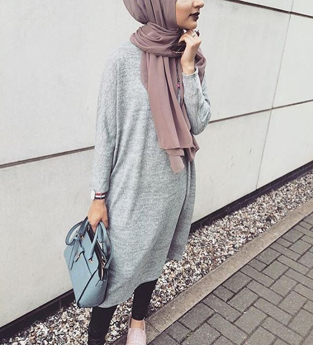 Pinterest: @eighthhorcruxx. Grey dress and pink hijab. @naillabintnazir #simplycovered