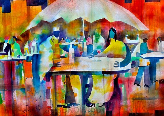 Summer Bistro Watercolor Print African American Art By SBrownART