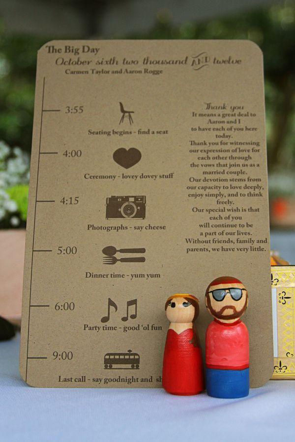programa de boda con linea de tiempo...super guay¡¡¡