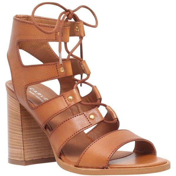 Carvela Kandice Block Heeled Lace Up Sandals, Tan Leather