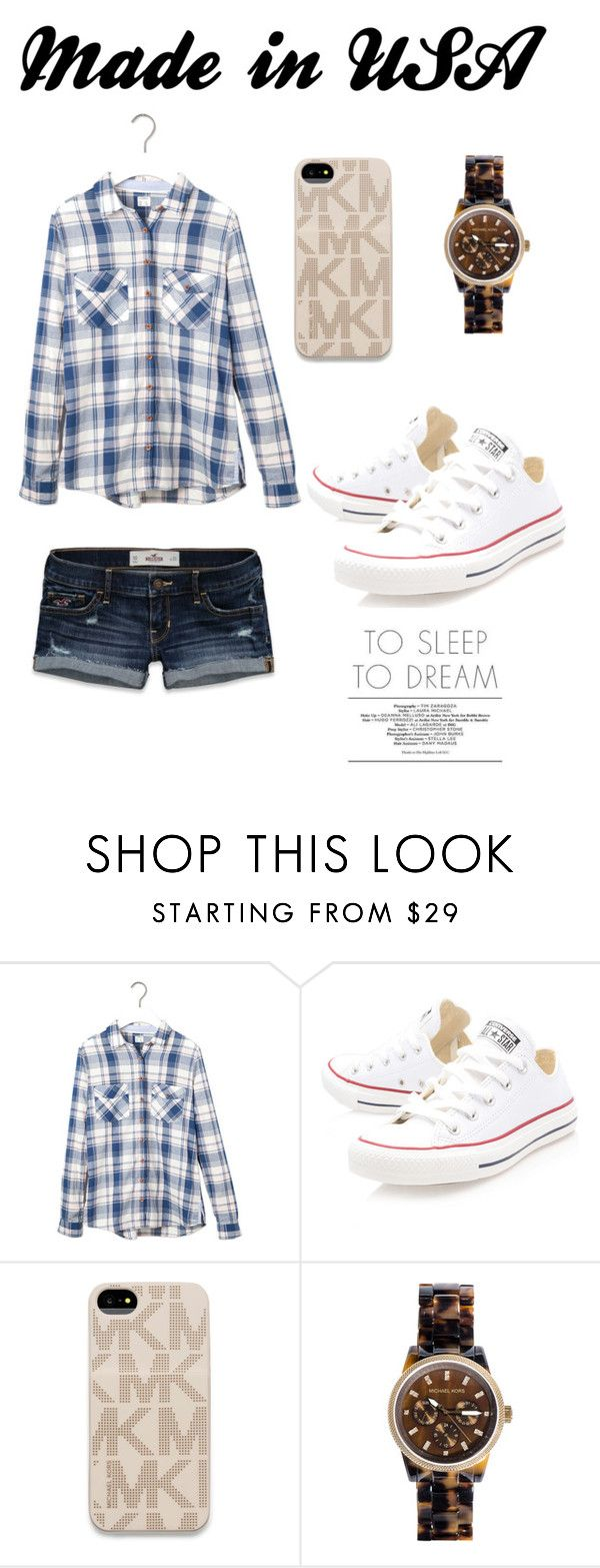 """Made in USA?"" by cuchita-92 ❤ liked on Polyvore featuring Pull&Bear, Hollister Co., Converse, MICHAEL Michael Kors and Michael Kors"