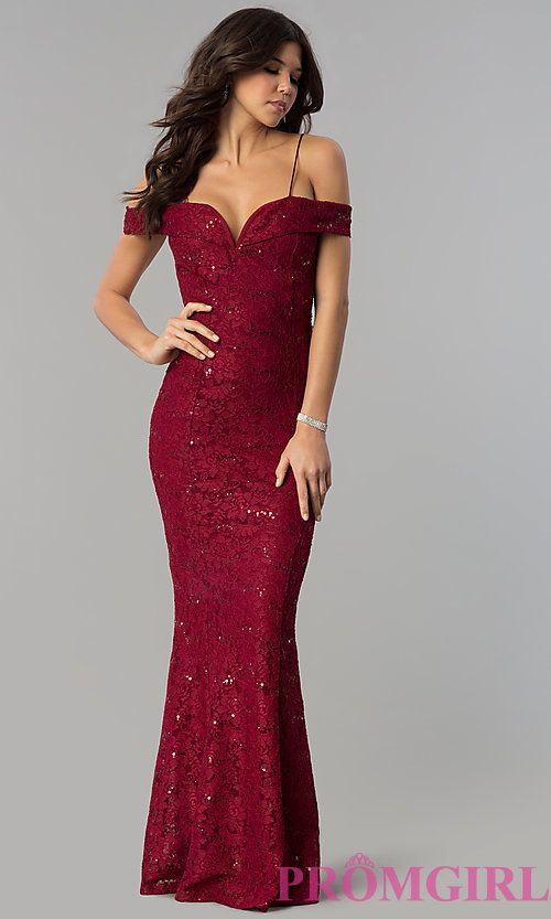 Long Sequin-Lace Notched Off-the-Shoulder Prom Dress