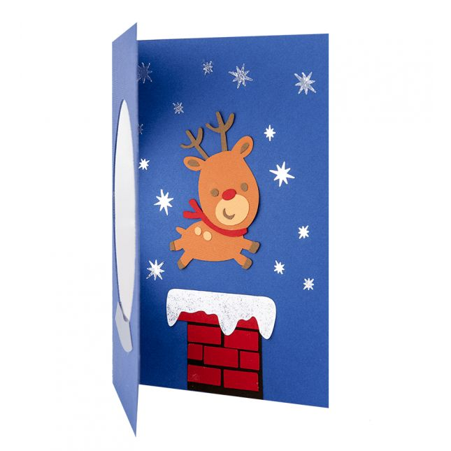 Felicitare Craciun cu fereastra transparenta si model in forma de ren realizat din carton aplicat manual in multiple straturi #Craciun #Christmas