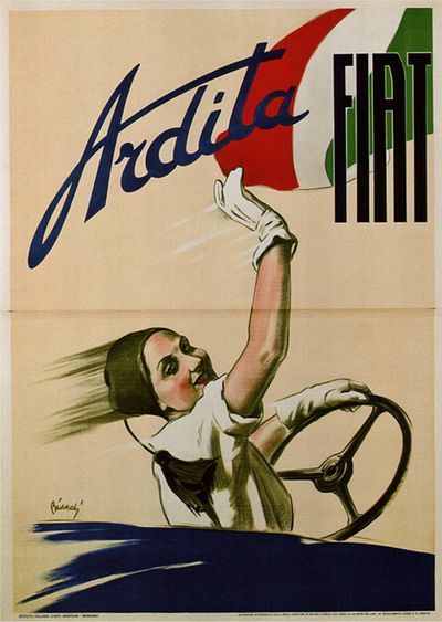 Vintage Fiat poster, circa late 1920s / early 1930s.