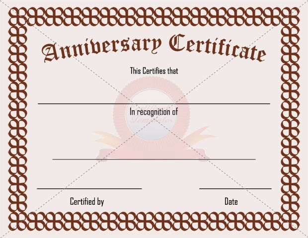 43 best ANNIVERSARY CERTIFICATE TEMPLATES images on Pinterest - blank certificates template