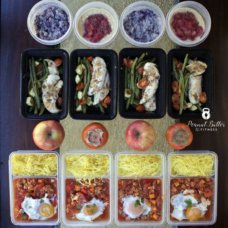 Meal Prep - Week of December 18th, 2016.  This week is a short week thanks to the holidays, but I still got my meal prepping done!  Here's what's on the menu: -> PB&J Overnight Oats -> Blueberry Coconut Overnight Oats -> One Pan Balsamic Chicken and Veggies -> Hearty Sausage and Sweet Potato Shakshuka with spaghetti squash  Recipes and nutrition info are included.
