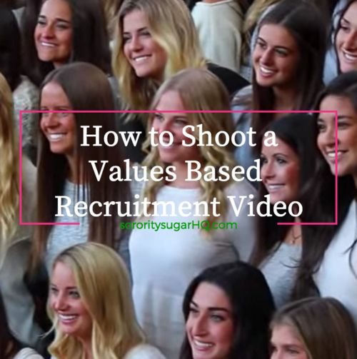 "Many campuses are cracking down on the types of things sororities can film. The trend is towards a ""values based' recruitment in many areas. ""How to Shoot a Values Based Recruitment Video"" helps you avoid getting into hot water! Check out sorority sugar's list of 50+ shots that are ""safe"" to shoot. And some not-so-great images to avoid as well. <3"