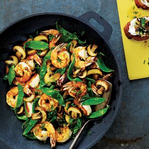 Shrimp, Mushroom and Snow Pea Stir-Fry | MyRecipes.com This stir-fry of shrimp, mushroom, and snow peas gets its flavor from cooking with a soy sauce and ginger mixture.