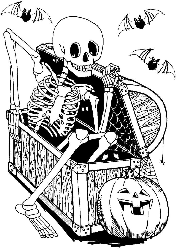 Skeleton In A Chest Printable Halloween Coloring Pages Halloween Quotes Coloring Pages