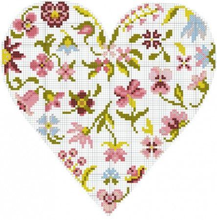 Broderie main: 4 diagrammes DMC coeur de fleurs gratuits