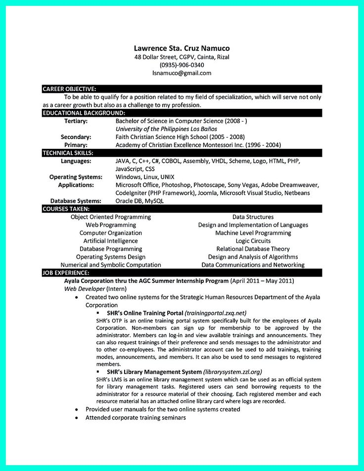 Should A Resume Be One Page  Besten Resume Sample Template And Format Bilder Auf Pinterest Web Designer Resume Examples Excel with Fill Out Resume What You Will Include In The Computer Science Resume Depends On The  Training As Well As Ballet Resume Word