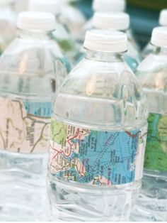 Travel Theme Ideas - Map Water Bottles & Labels via One Charming Party- mazelmoments.com water bottle labels from Tailor Made Water