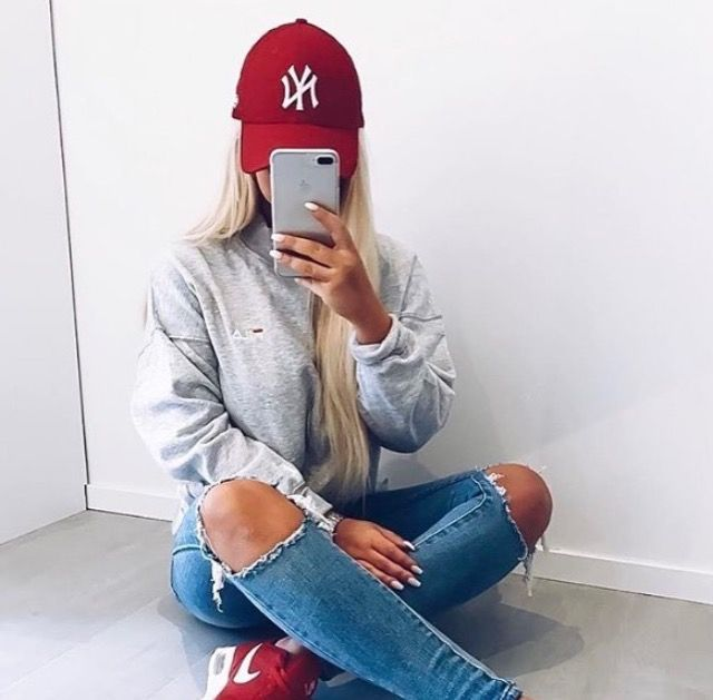 Ripped jeans grey hoody and pops of red #tailgating #footballgames