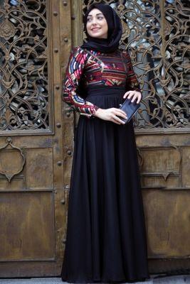 Mevra Siyah Afra Abiye Elbise