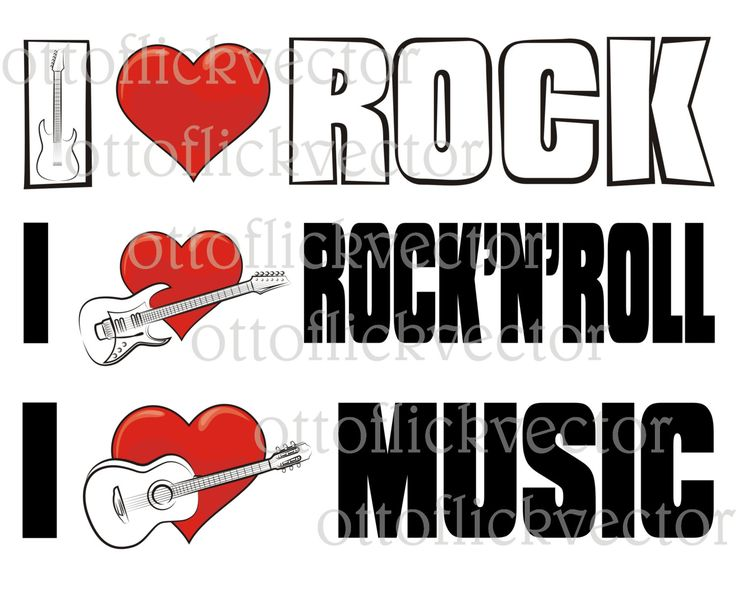 I LOVE ROCK MUSIC Vector Clipart eps, ai, cdr, png, jpg, electric acoustic guitar silhouettes, heart icon, rock and roll lover by ottoflickvector on Etsy