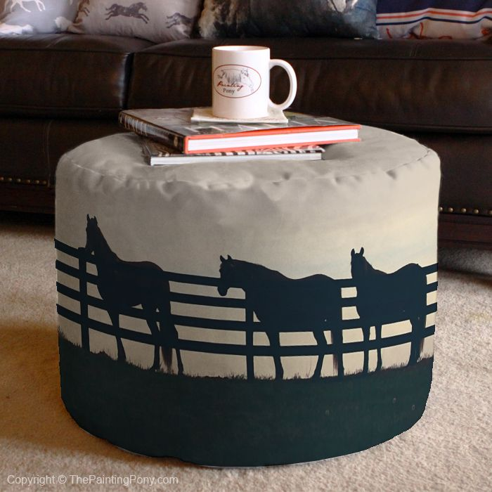 Horses at the Fence Equestrian Ottoman - The Painting Pony - horse lover pouf or end table to use as extra seating or prop your feet up on in the living room or bedroom or even the barn's tack room! Perfect and tasteful country western equestrian home decor.