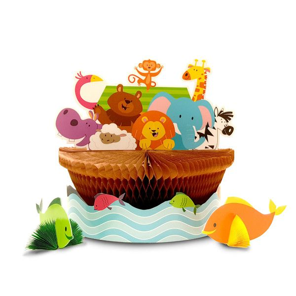 Descriptions Noahs Ark Honeycomb Centerpiece - Design : Noahs Ark Features - Baby Shower Ships within 4 Business Days
