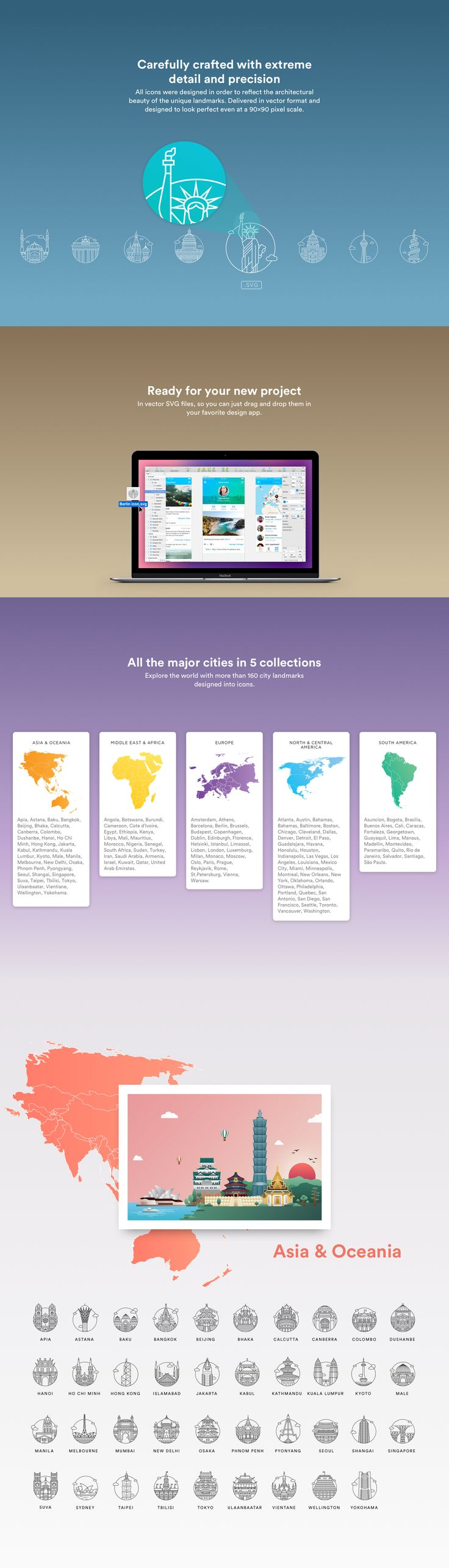 A 5 month project led to the creation of 5 collections of unique icons. With over 160 cities, the world city icons collections are one of the most extensive ones in the web. All the icons are available for download in vector format for you next project.