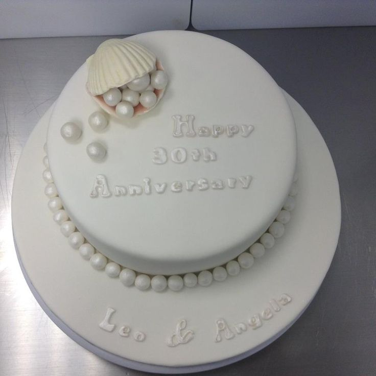 30th Wedding Anniversary Cake decorated by Coast Cakes Ltd