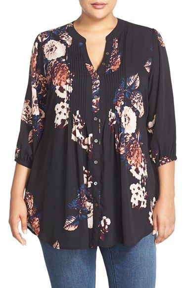 MELISSA MCCARTHY SEVEN7 Belted Floral Print Pintuck Blouse (Plus Size) available... 15