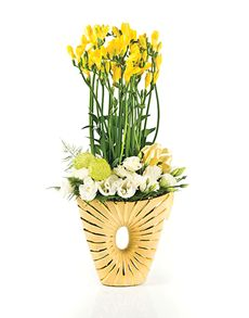 Singapore Flowers: Flower Vase - Yellow Table Mix!
