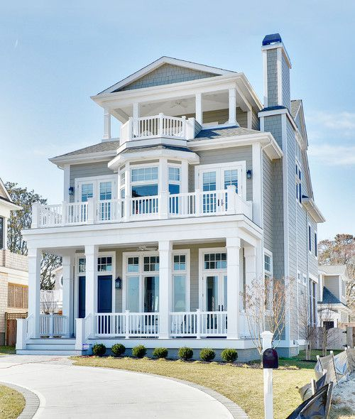 i love the balcony! and being able to go outside on each level. This house would be perfect over looking a beach!