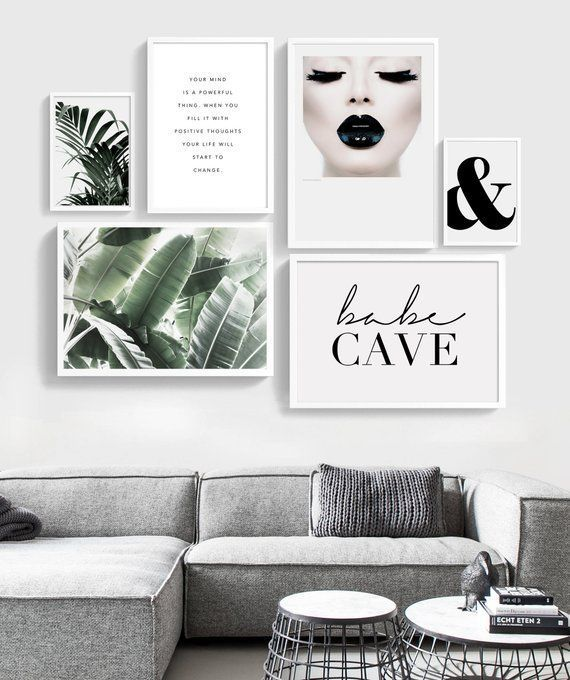 Home Wall Decor Inspiration Art Black Fashion Gallery Lips Print Printable Prints Set Wa In 2020 Gallery Wall Layout Gallery Wall Set Small Living Room Decor