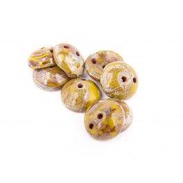 Piggy Beads - 8mm Avocado Picasso x1