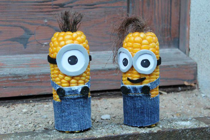 Basteln im Herbst: Maiskolben - Minions,