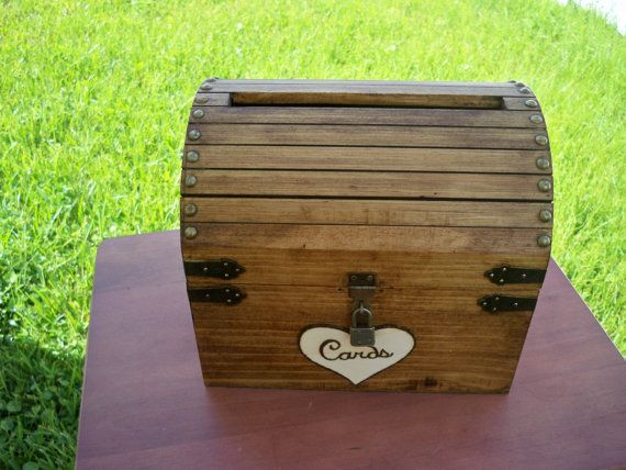RUSTIC WEDDING CARD Box - medium card box stained wood card chest advice box lockable latch card slot and padlock included