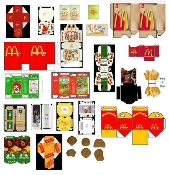 Más plantillas para crear tu juego #McDonalds #packaging templates PD