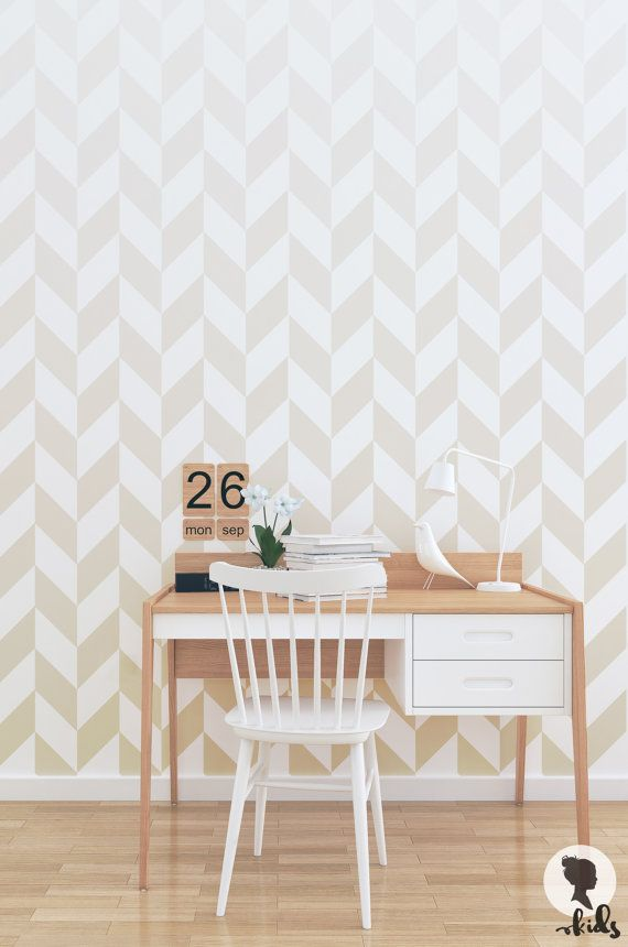 Ombre Herringbone Wallpaper Traditional or Removable
