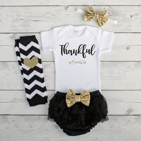 Baby Girl Thanksgiving Outfit Thanksgiving Baby Girl Outfit 1st Thanksgiving Outfit Infant Thankful Shirt My 1st Thanksgiving Outfit by BumpAndBeyondDesigns