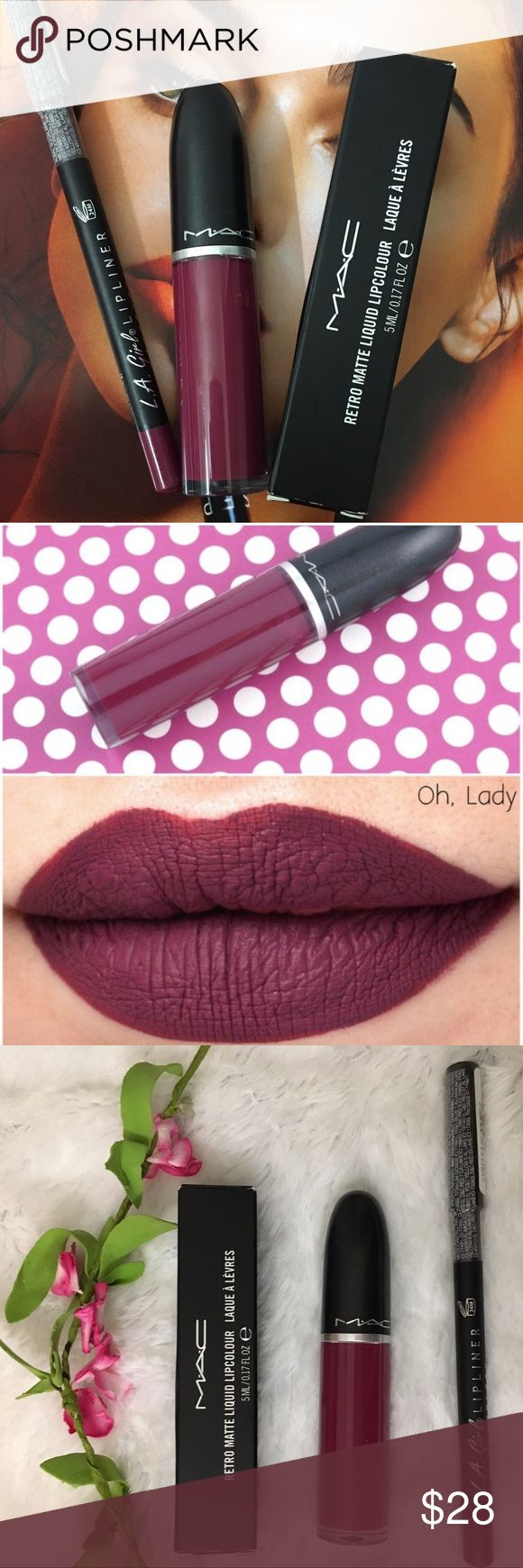 "✨Mac retro Matte liquid lipstick in ""oh lady "" w Authentic bnib retro oh lady ! With L. A Girls lipliner in raspberry ! Perfect combo ! I use this duo daily ! Love love ! I think just about all skin tones could where this shade ! Comes with a gift ✨✨ MAC Cosmetics Makeup Lipstick"