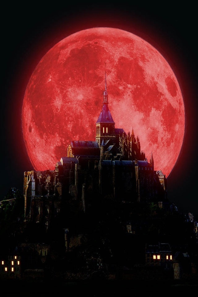 Luna Roja sobre el Mont Saint-Michel, Francia ///// Red Moon on the Mont Saint-Michel, France