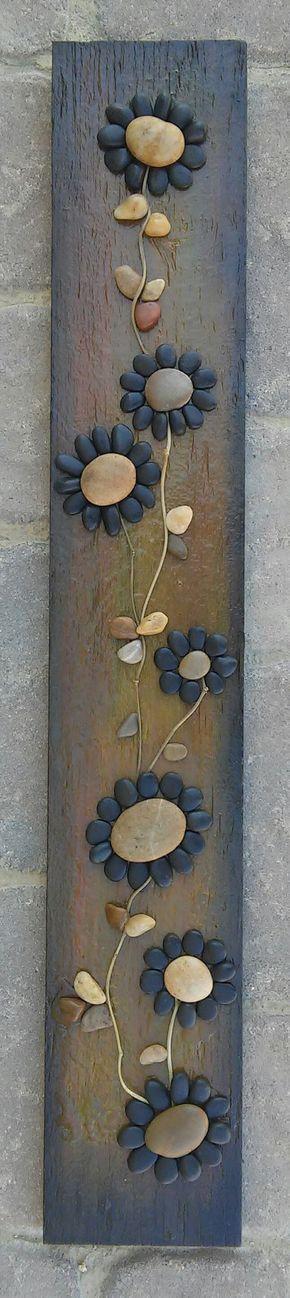 Pebble Art, Rock Art, Pebble Art Flowers, Rock Art Flowers, (string of beautiful black flowers), reclaimed wood, approx 30x3 (FREE SHIPPING) by CrawfordBunch